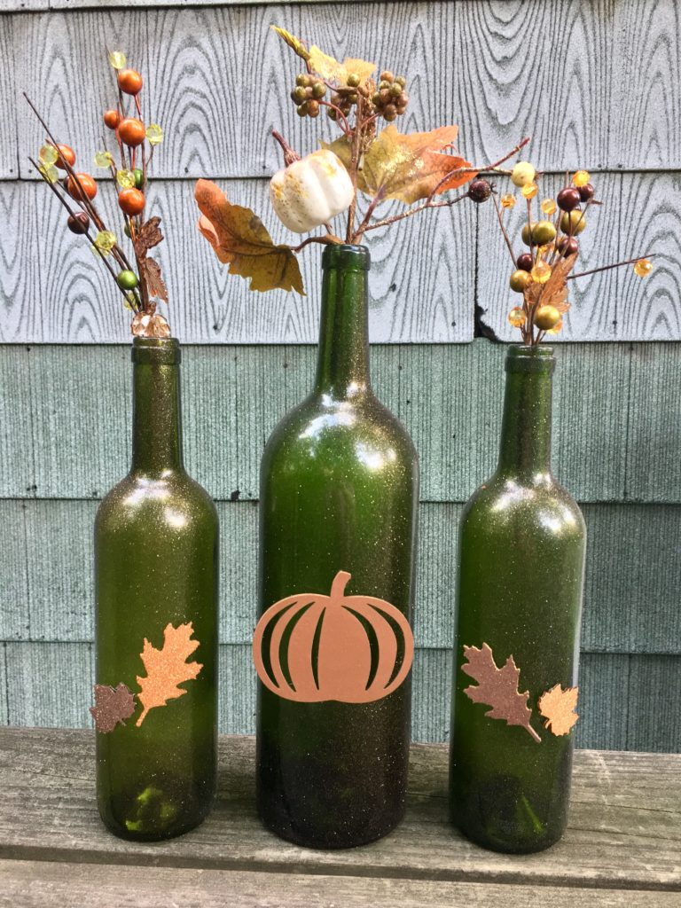 painted wine bottle fall decoration