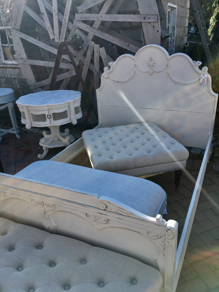 french antique chalk painted bed set