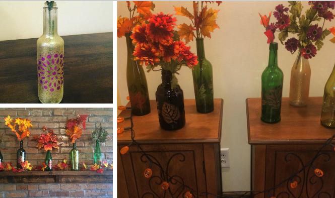 Etsy Shop: Painted Wine Bottle Decoration Pieces