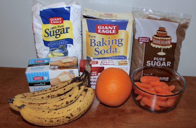 Banana & carrot cake ingredients