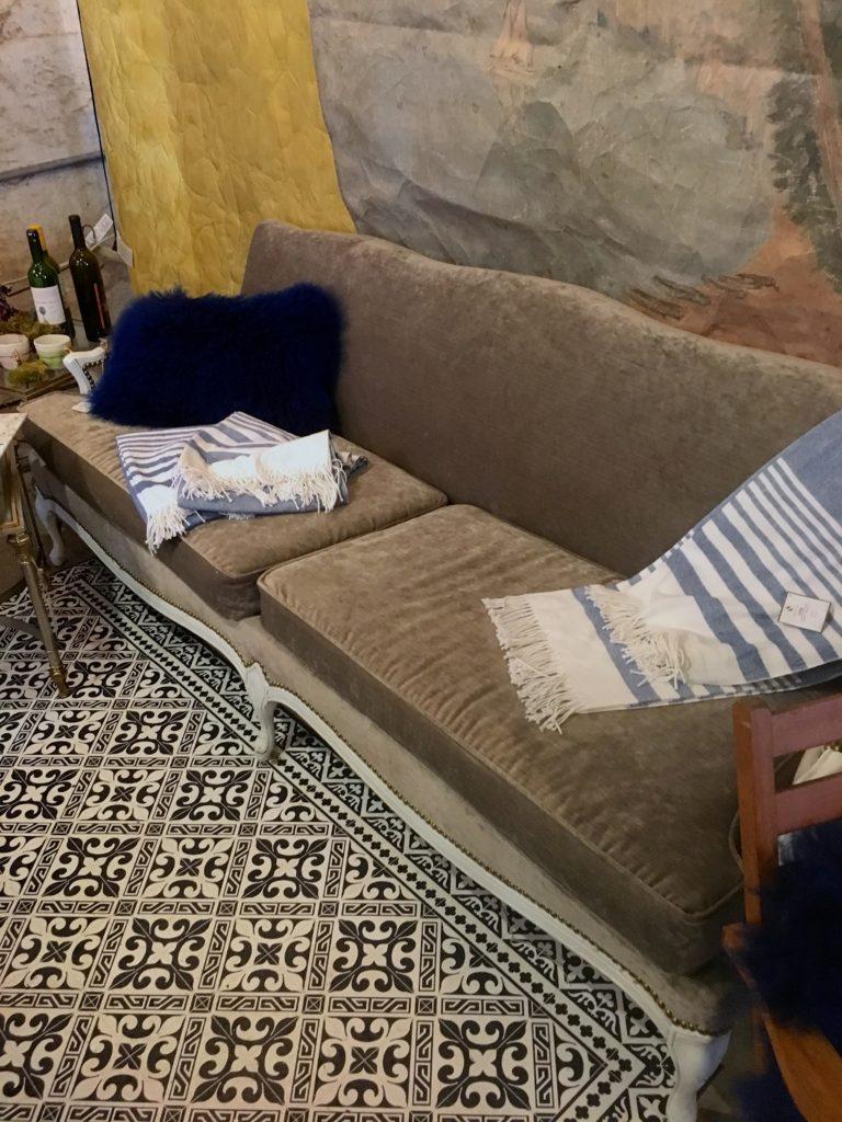 velvet grey couch