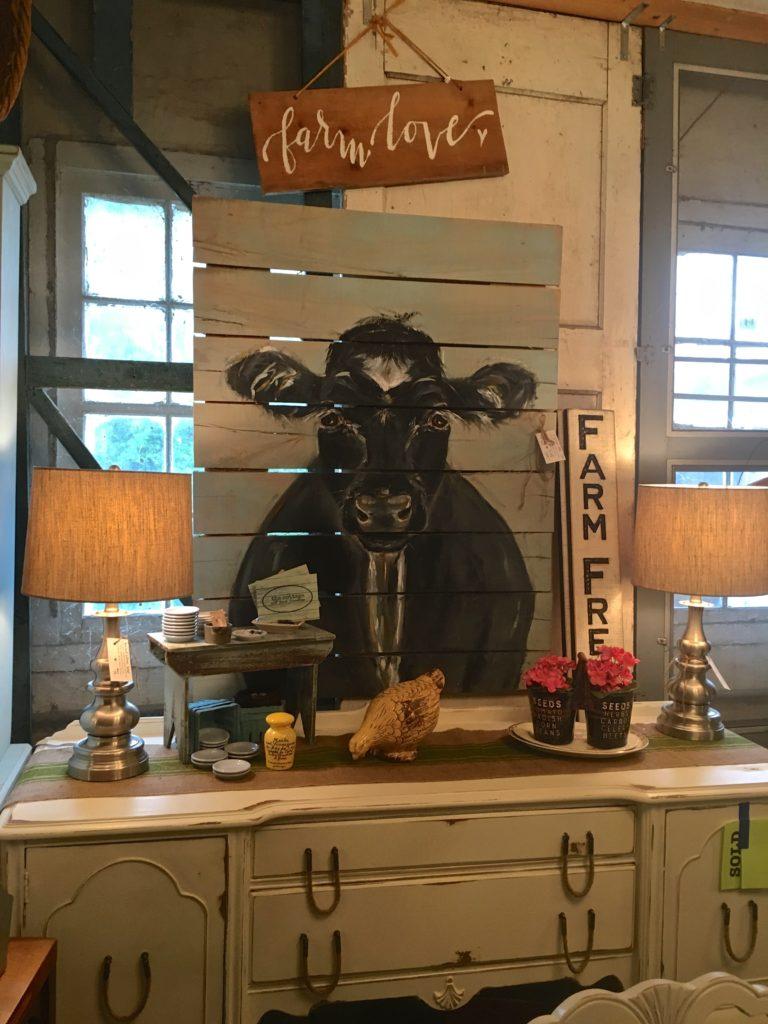 cow farmhouse painting